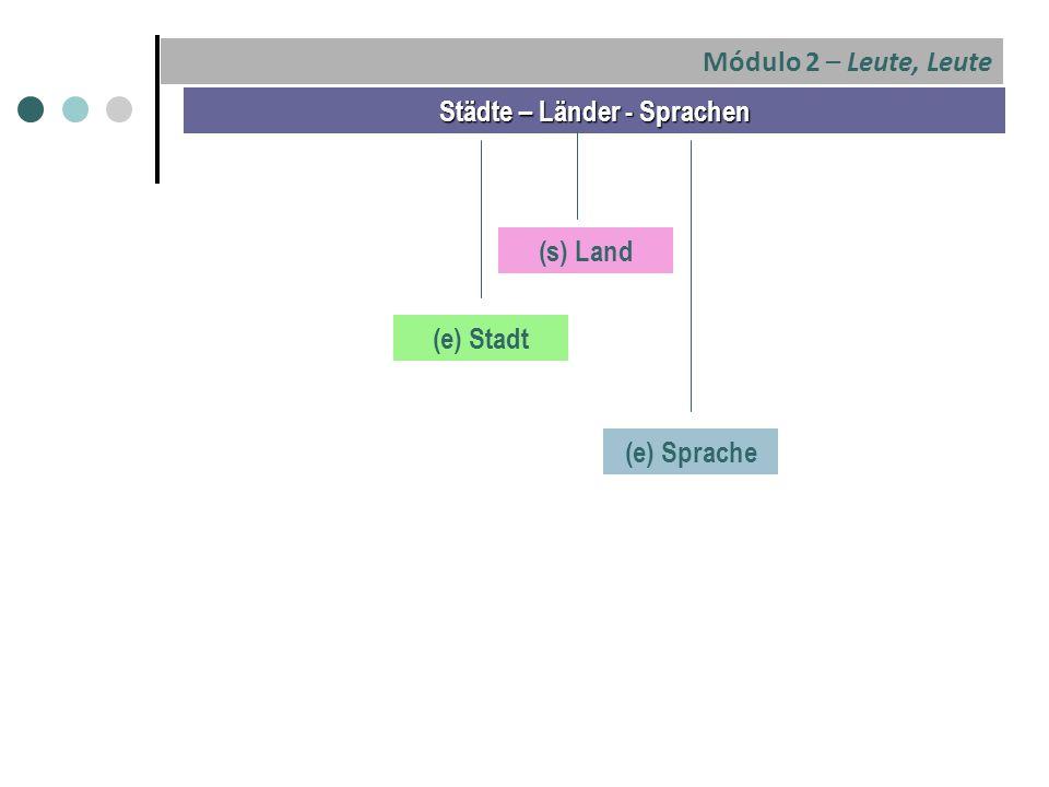 Städte – Länder - Sprachen (e) Stadt (s) Land (e) Sprache Módulo 2 – Leute, Leute