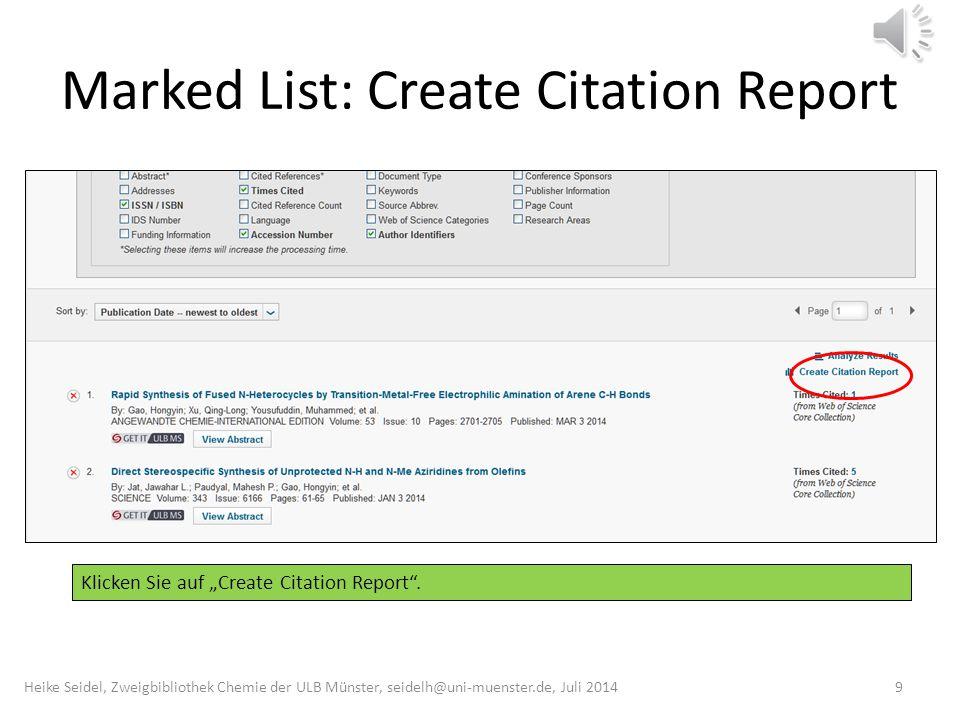 """Marked List: Create Citation Report Klicken Sie auf """"Create Citation Report ."""