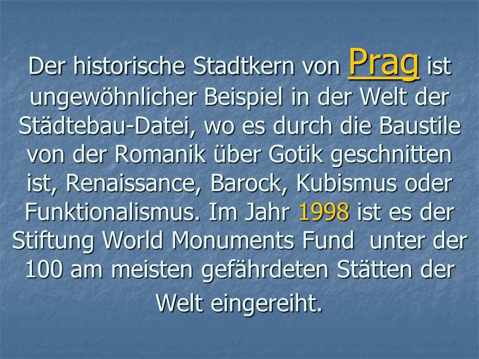 UNESCO-Stätten in der Tschechischen Republik Derzeit hat die Tschechische Republik 12 Kulturdenkmäler: PRAG - der historische Kern Tschechische Krumlo