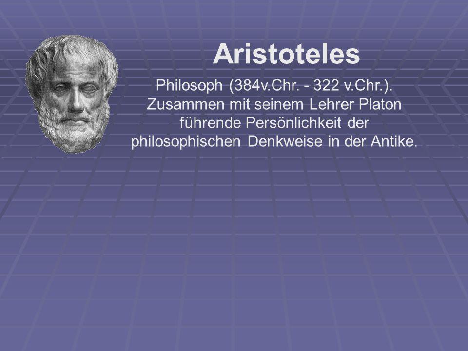 Αristoteles Philosoph (384v.Chr. - 322 v.Chr.). Zusammen mit seinem Lehrer Platon führende Persönlichkeit der philosophischen Denkweise in der Antike.