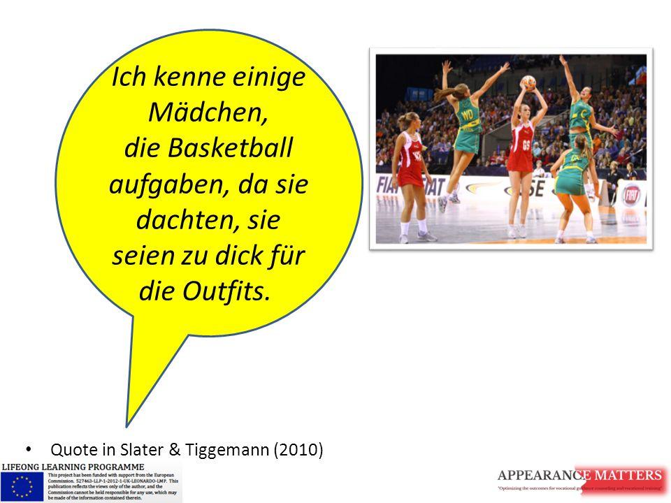 Quote in Slater & Tiggemann (2010) Ich kenne einige Mädchen, die Basketball aufgaben, da sie dachten, sie seien zu dick für die Outfits.