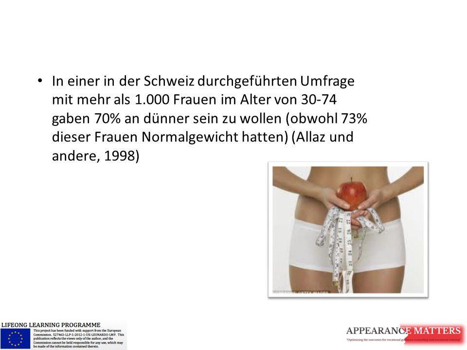 In einer in der Schweiz durchgeführten Umfrage mit mehr als 1.000 Frauen im Alter von 30-74 gaben 70% an dünner sein zu wollen (obwohl 73% dieser Frau