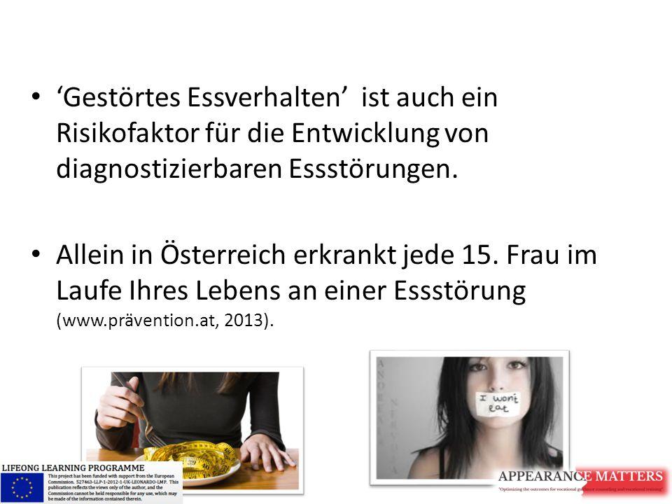 'Gestörtes Essverhalten' ist auch ein Risikofaktor für die Entwicklung von diagnostizierbaren Essstörungen. Allein in Österreich erkrankt jede 15. Fra