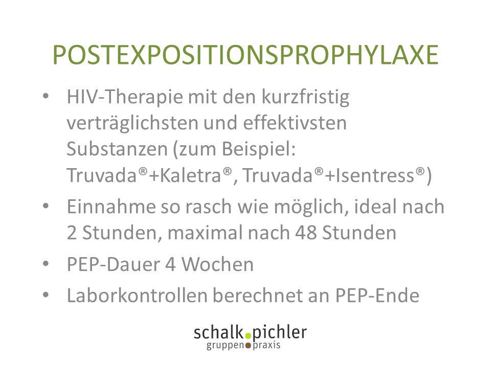 POSTEXPOSITIONSPROPHYLAXE HIV-Therapie mit den kurzfristig verträglichsten und effektivsten Substanzen (zum Beispiel: Truvada®+Kaletra®, Truvada®+Isen