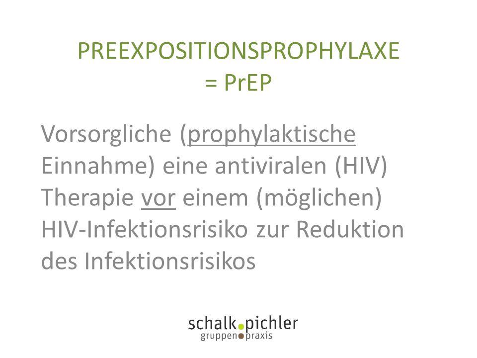 PREEXPOSITIONSPROPHYLAXE = PrEP Vorsorgliche (prophylaktische Einnahme) eine antiviralen (HIV) Therapie vor einem (möglichen) HIV-Infektionsrisiko zur