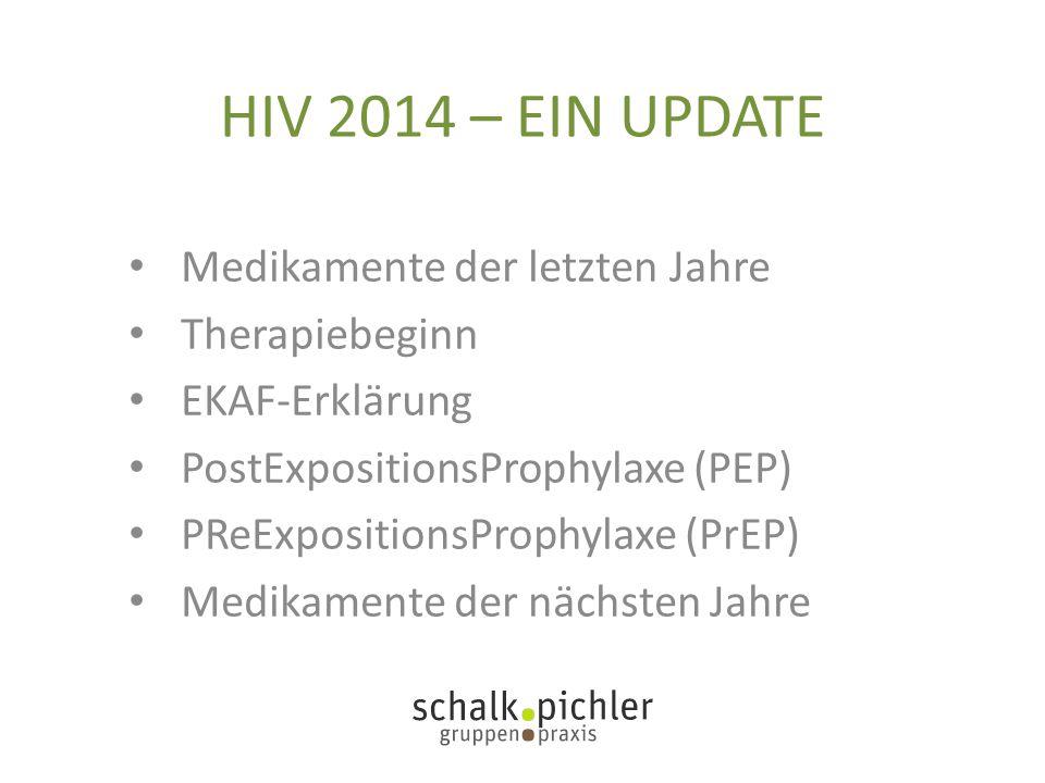 HIV 2014 – EIN UPDATE Medikamente der letzten Jahre Therapiebeginn EKAF-Erklärung PostExpositionsProphylaxe (PEP) PReExpositionsProphylaxe (PrEP) Medi