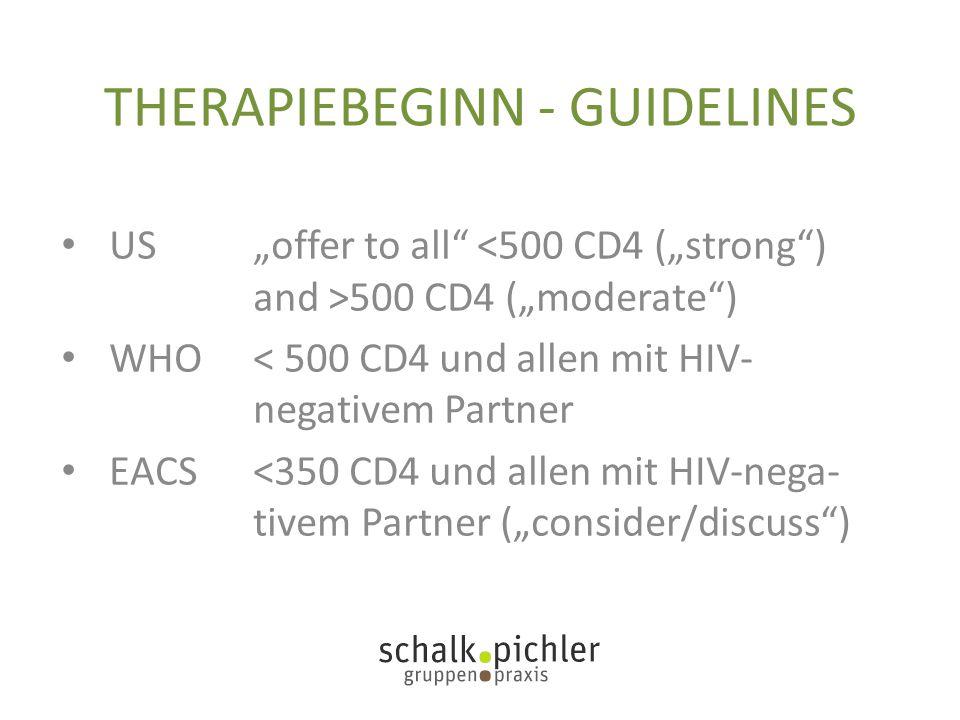 "THERAPIEBEGINN - GUIDELINES US""offer to all"" 500 CD4 (""moderate"") WHO < 500 CD4 und allen mit HIV- negativem Partner EACS<350 CD4 und allen mit HIV-ne"
