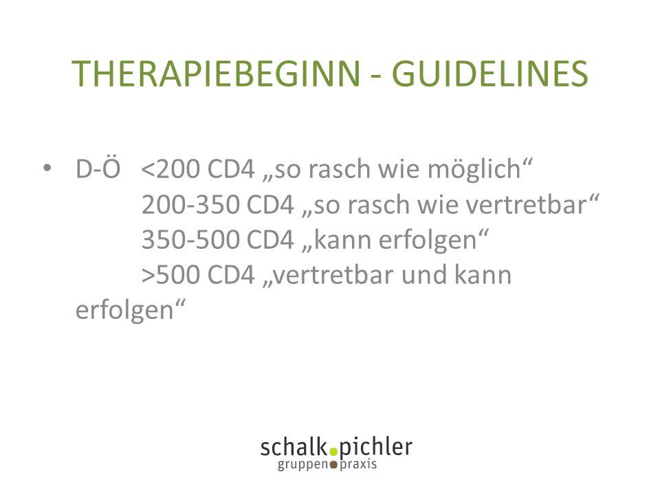 "THERAPIEBEGINN - GUIDELINES D-Ö 500 CD4 ""vertretbar und kann erfolgen"""