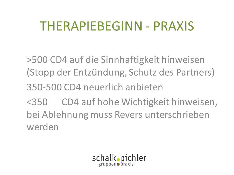 THERAPIEBEGINN - PRAXIS >500 CD4 auf die Sinnhaftigkeit hinweisen (Stopp der Entzündung, Schutz des Partners) 350-500 CD4 neuerlich anbieten <350 CD4