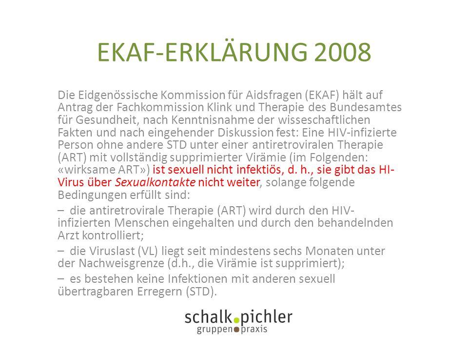 EKAF-ERKLÄRUNG 2008 Die Eidgenössische Kommission für Aidsfragen (EKAF) hält auf Antrag der Fachkommission Klink und Therapie des Bundesamtes für
