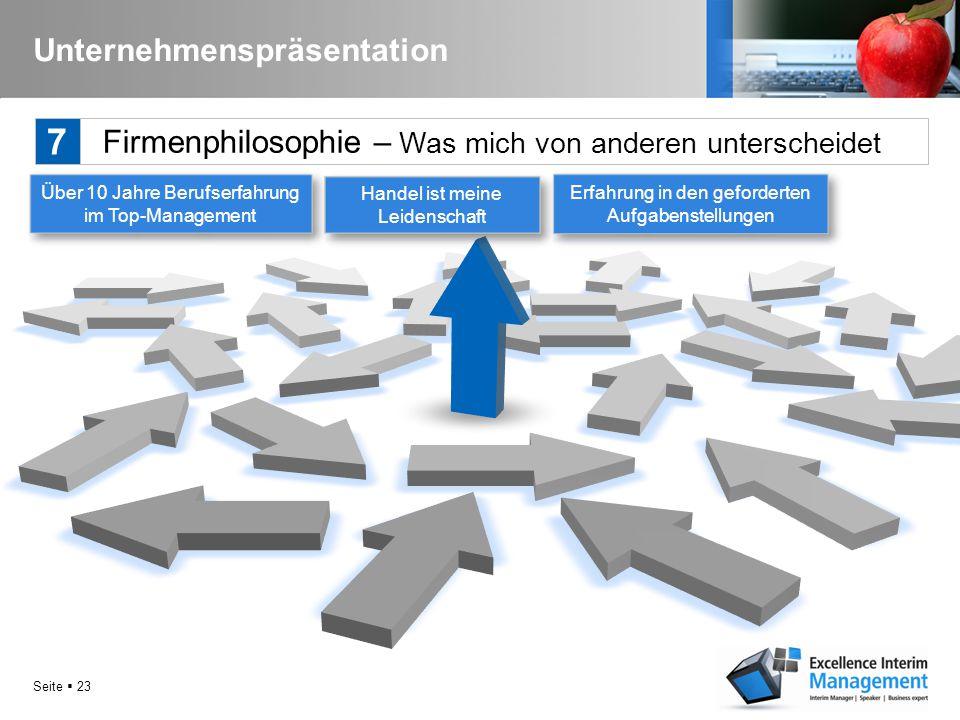 Seite  22 Unternehmenspräsentation Firmenphilosophie - Leitbild 7 Die von mir geforderten Funktionen, Qualitäten, Termine und Kosten zu sichern und d
