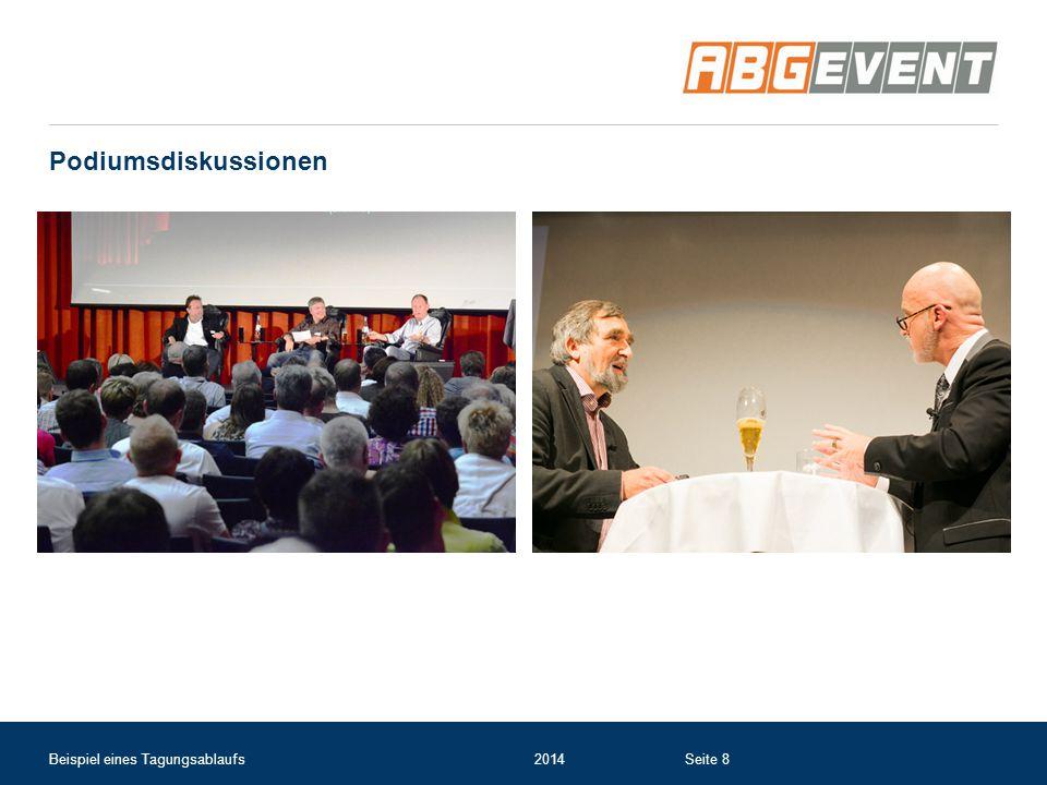Alternativ: Galaabend im umgebauten Tagungssaal mit Partyband Beispiel eines Tagungsablaufs2014Seite 19
