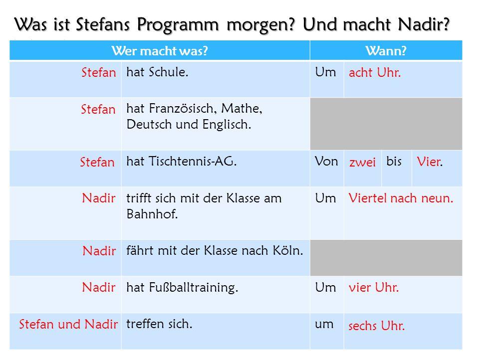 Was ist Stefans Programm morgen? Und macht Nadir? Wann? Wer macht was?Wann? hat Schule.Um hat Französisch, Mathe, Deutsch und Englisch. hat Tischtenni