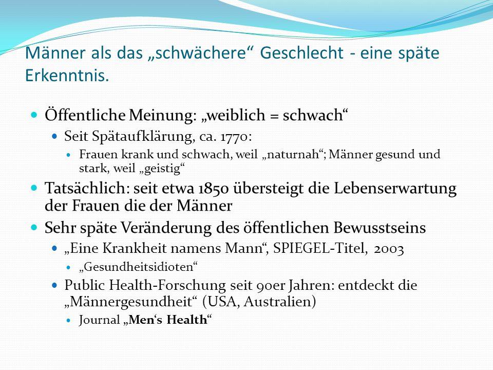 """Männer als das """"schwächere"""" Geschlecht - eine späte Erkenntnis. Öffentliche Meinung: """"weiblich = schwach"""" Seit Spätaufklärung, ca. 1770: Frauen krank"""