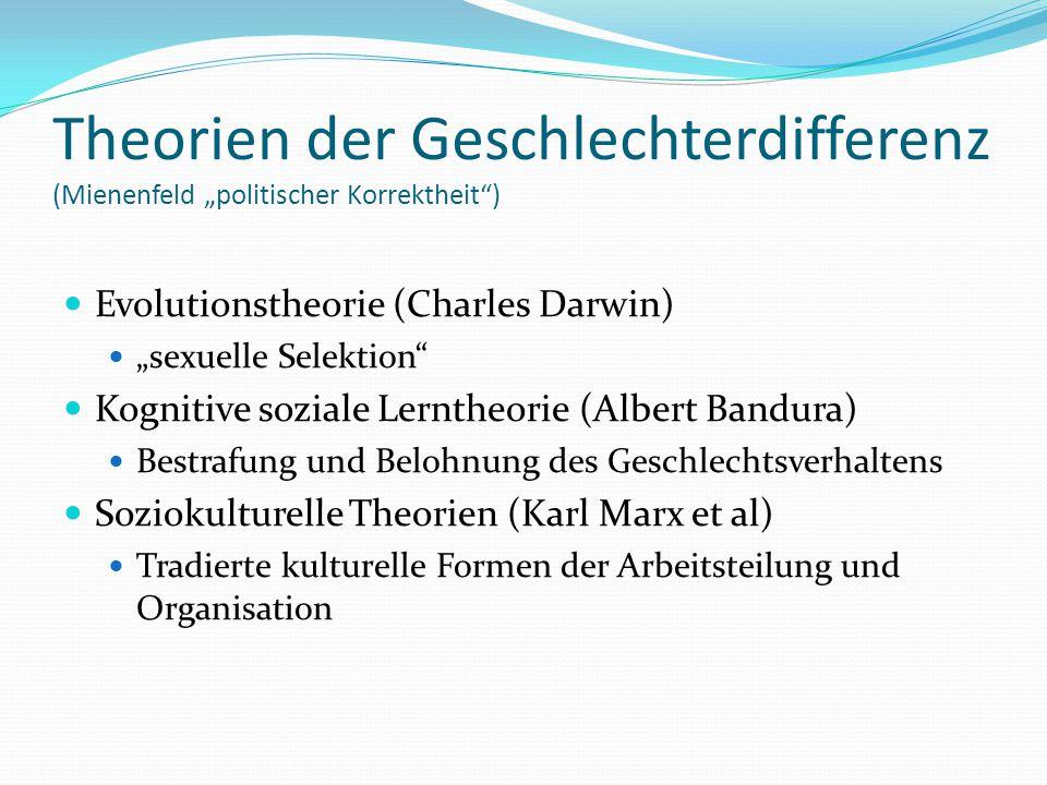 """Theorien der Geschlechterdifferenz (Mienenfeld """"politischer Korrektheit"""") Evolutionstheorie (Charles Darwin) """"sexuelle Selektion"""" Kognitive soziale Le"""