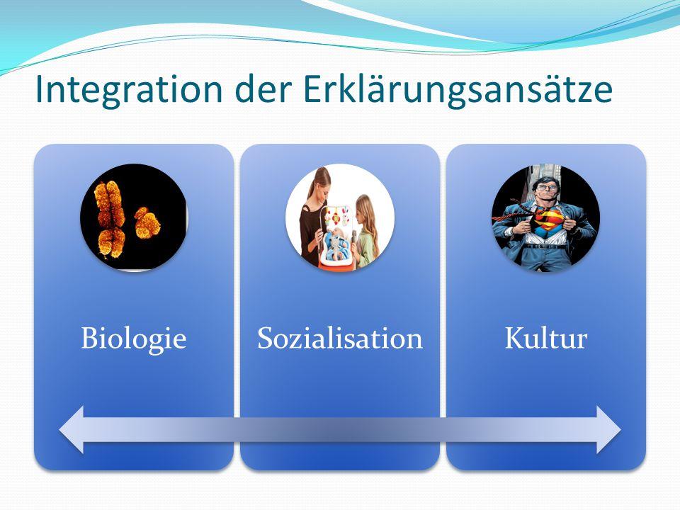 Integration der Erklärungsansätze Biologie Sozialisatio n Kultur