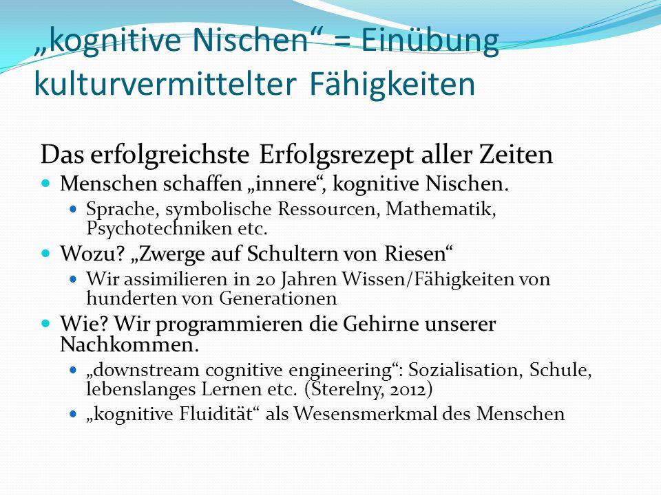 """""""kognitive Nischen"""" = Einübung kulturvermittelter Fähigkeiten Das erfolgreichste Erfolgsrezept aller Zeiten Menschen schaffen """"innere"""", kognitive Nisc"""