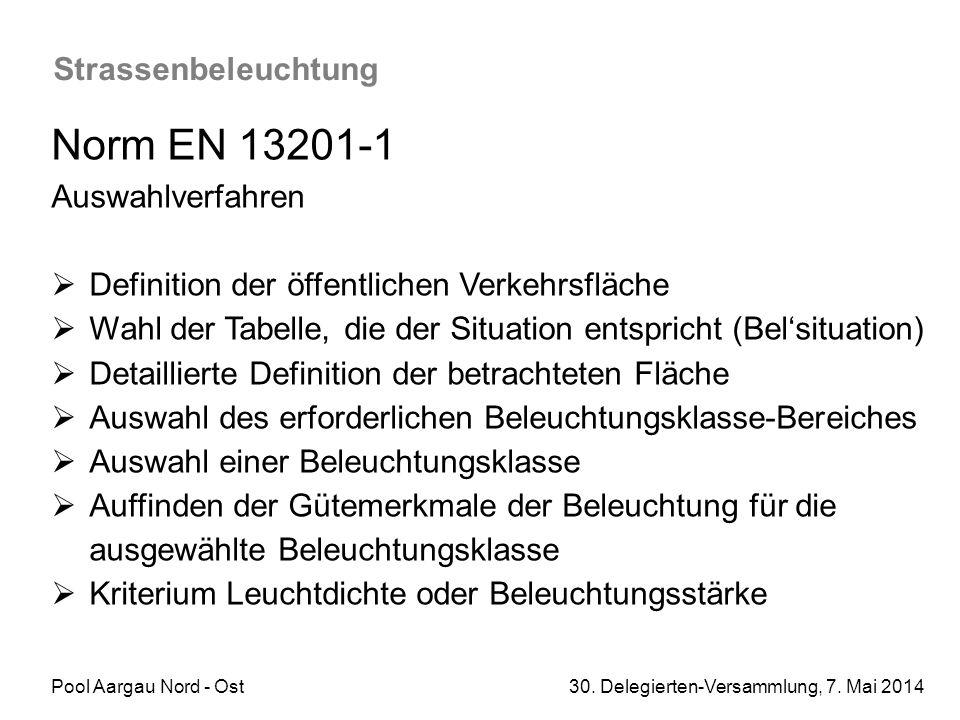 Pool Aargau Nord - Ost 30. Delegierten-Versammlung, 7. Mai 2014 Strassenbeleuchtung Norm EN 13201-1 Auswahlverfahren  Definition der öffentlichen Ver