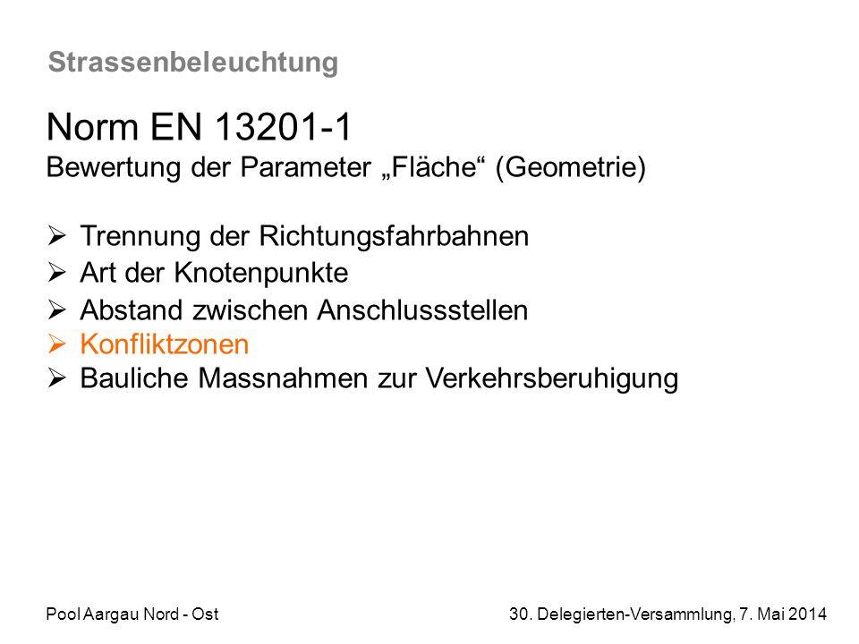 """Pool Aargau Nord - Ost 30. Delegierten-Versammlung, 7. Mai 2014 Strassenbeleuchtung Norm EN 13201-1 Bewertung der Parameter """"Fläche"""" (Geometrie)  Tre"""