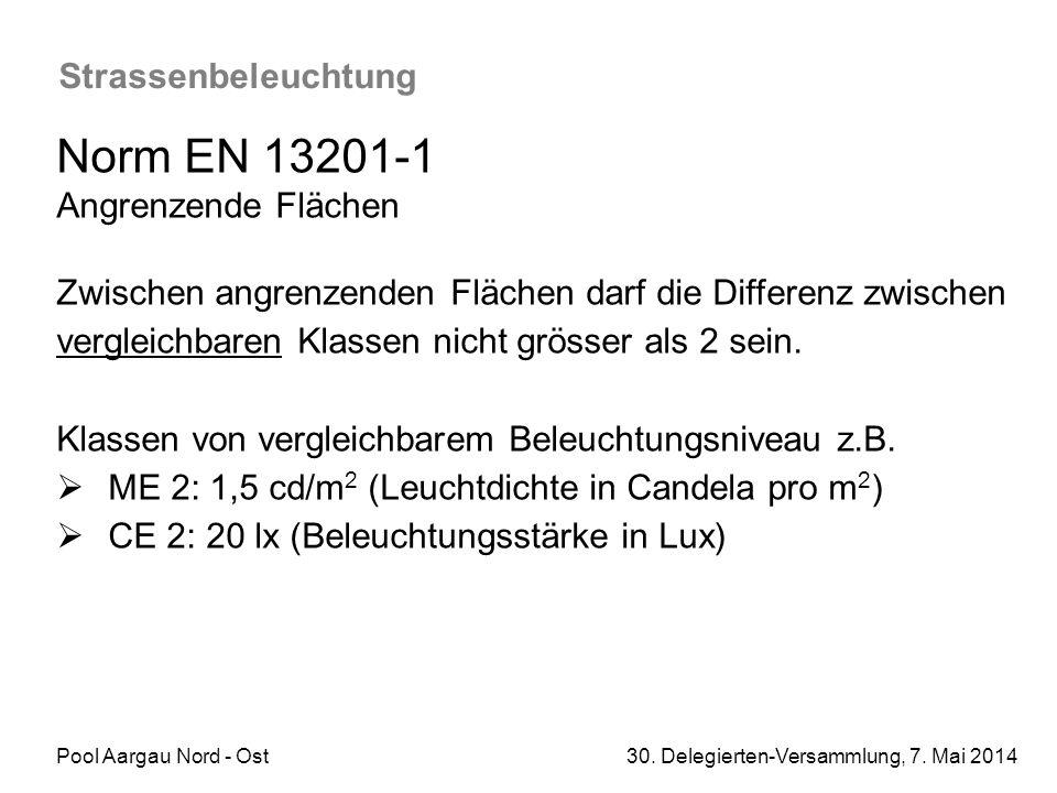 Pool Aargau Nord - Ost 30. Delegierten-Versammlung, 7. Mai 2014 Strassenbeleuchtung Norm EN 13201-1 Angrenzende Flächen Zwischen angrenzenden Flächen