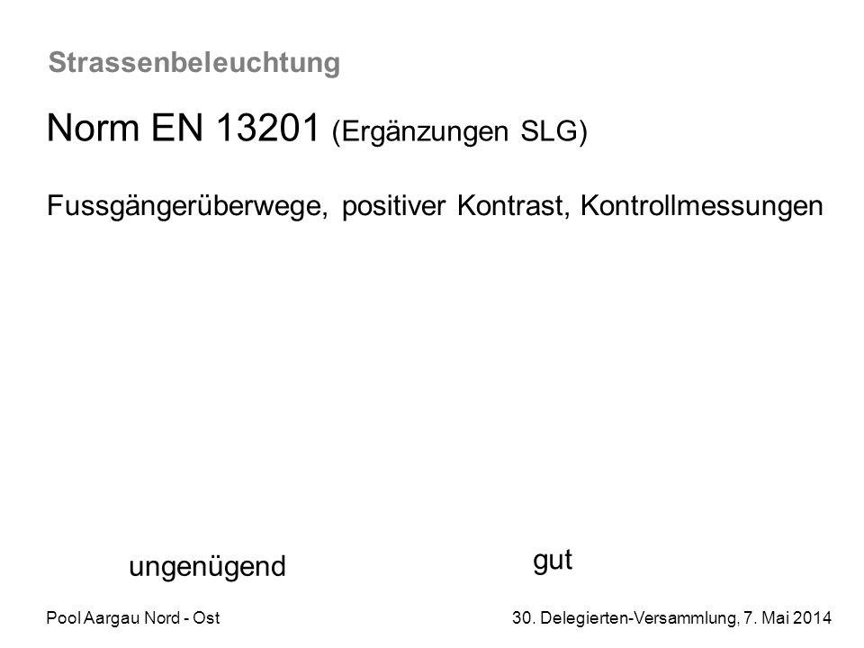Pool Aargau Nord - Ost 30. Delegierten-Versammlung, 7. Mai 2014 Strassenbeleuchtung Norm EN 13201 (Ergänzungen SLG) Fussgängerüberwege, positiver Kont
