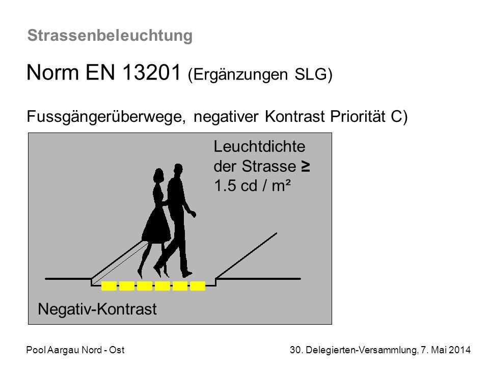 Pool Aargau Nord - Ost 30. Delegierten-Versammlung, 7. Mai 2014 Strassenbeleuchtung Norm EN 13201 (Ergänzungen SLG) Fussgängerüberwege, negativer Kont