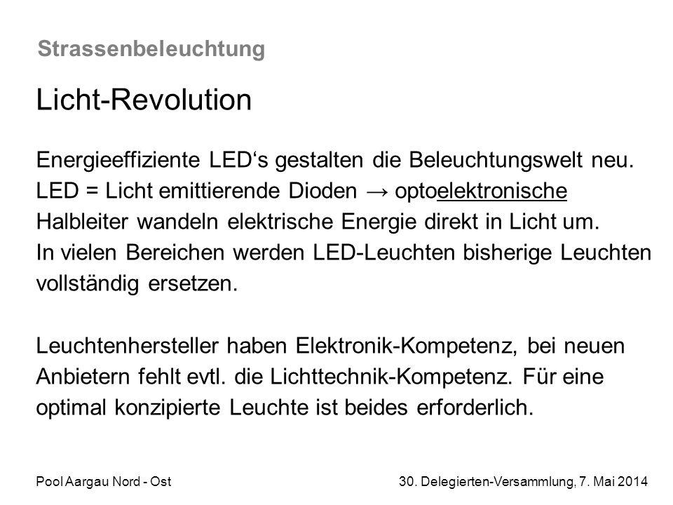 Pool Aargau Nord - Ost 30. Delegierten-Versammlung, 7. Mai 2014 Strassenbeleuchtung Licht-Revolution Energieeffiziente LED's gestalten die Beleuchtung
