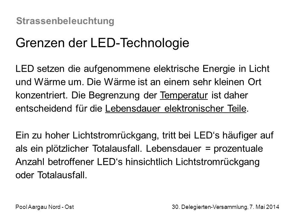 Pool Aargau Nord - Ost 30. Delegierten-Versammlung, 7. Mai 2014 Strassenbeleuchtung Grenzen der LED-Technologie LED setzen die aufgenommene elektrisch