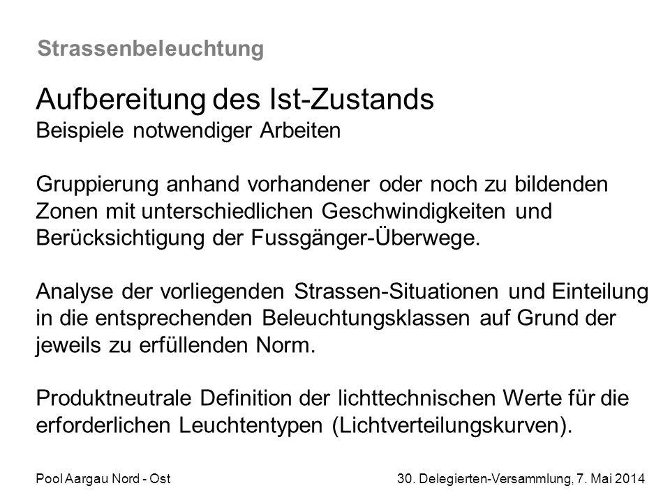 Pool Aargau Nord - Ost 30. Delegierten-Versammlung, 7. Mai 2014 Strassenbeleuchtung Aufbereitung des Ist-Zustands Beispiele notwendiger Arbeiten Grupp