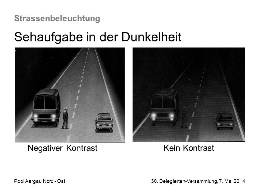 Pool Aargau Nord - Ost 30. Delegierten-Versammlung, 7. Mai 2014 Strassenbeleuchtung Sehaufgabe in der Dunkelheit Negativer Kontrast Kein Kontrast
