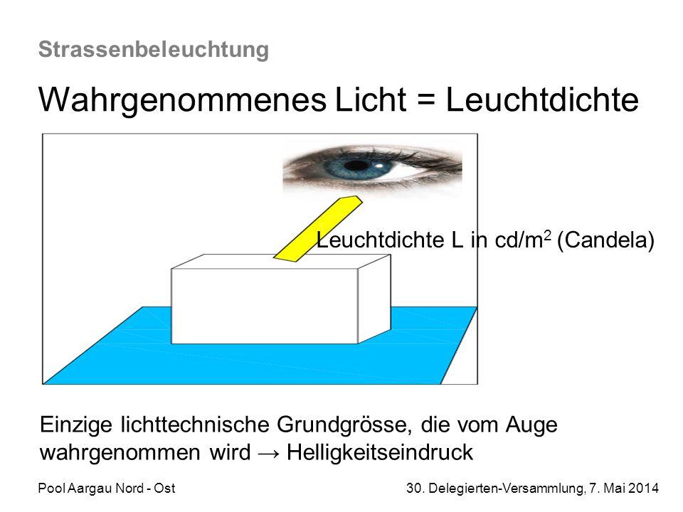 Pool Aargau Nord - Ost 30. Delegierten-Versammlung, 7. Mai 2014 Strassenbeleuchtung Wahrgenommenes Licht = Leuchtdichte Einzige lichttechnische Grundg