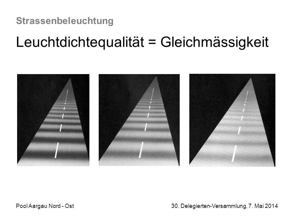 Pool Aargau Nord - Ost 30. Delegierten-Versammlung, 7. Mai 2014 Strassenbeleuchtung Leuchtdichtequalität = Gleichmässigkeit