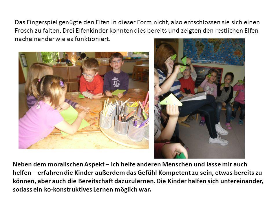 Bemerkenswert war, dass die Kinder in der Freispielzeit ein eigenes Froschspiel entwickelten – den Froschzug.