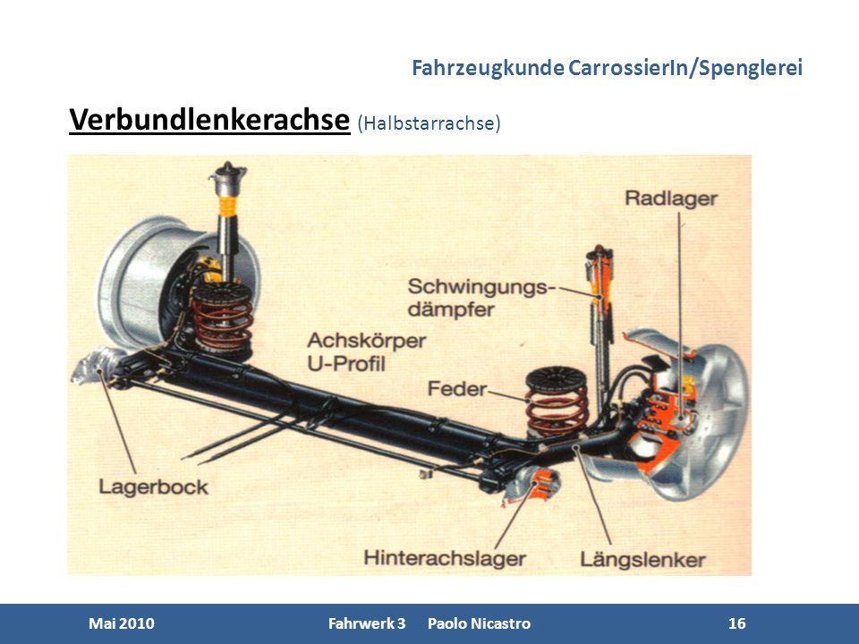 16 Mai 2010Fahrwerk 3 Paolo Nicastro16 Fahrzeugkunde CarrossierIn/Spenglerei Verbundlenkerachse (Halbstarrachse)