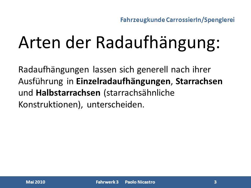 3 Mai 2010Fahrwerk 3 Paolo Nicastro3 Arten der Radaufhängung: Radaufhängungen lassen sich generell nach ihrer Ausführung in Einzelradaufhängungen, Starrachsen und Halbstarrachsen (starrachsähnliche Konstruktionen), unterscheiden.
