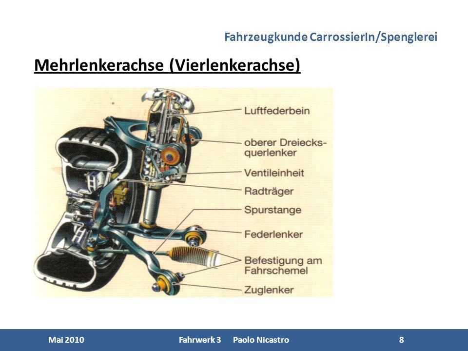8 Mai 2010Fahrwerk 3 Paolo Nicastro8 Mehrlenkerachse (Vierlenkerachse) Fahrzeugkunde CarrossierIn/Spenglerei