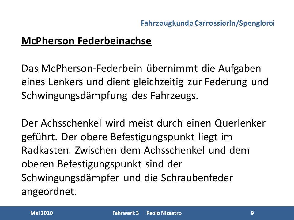 9 Mai 2010Fahrwerk 3 Paolo Nicastro9 McPherson Federbeinachse Das McPherson-Federbein übernimmt die Aufgaben eines Lenkers und dient gleichzeitig zur Federung und Schwingungsdämpfung des Fahrzeugs.