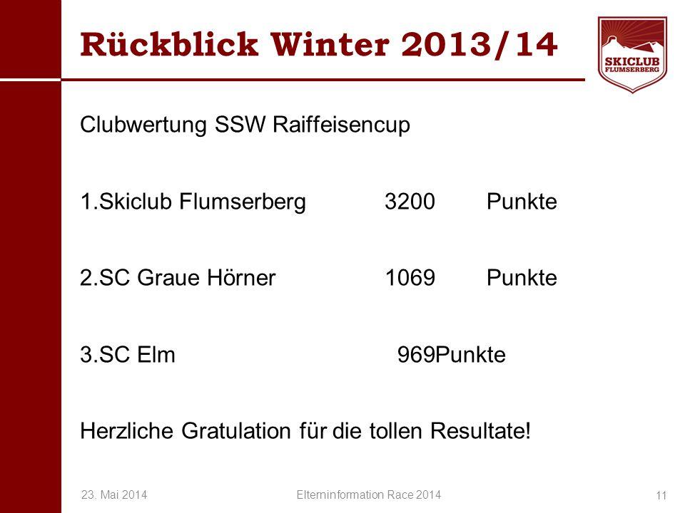 O+IO+I Rückblick Winter 2013/14 Clubwertung SSW Raiffeisencup 1.Skiclub Flumserberg 3200Punkte 2.SC Graue Hörner 1069Punkte 3.SC Elm 969Punkte Herzlic