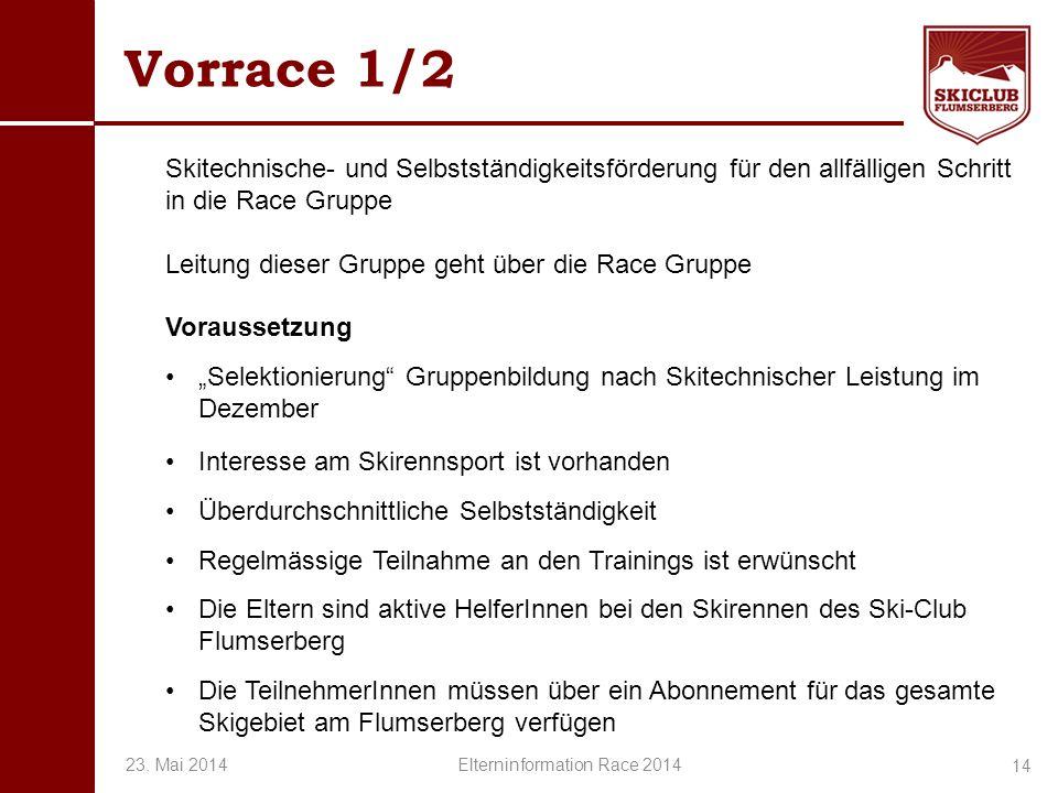 O+IO+I Vorrace 1/2 Skitechnische- und Selbstständigkeitsförderung für den allfälligen Schritt in die Race Gruppe Leitung dieser Gruppe geht über die R