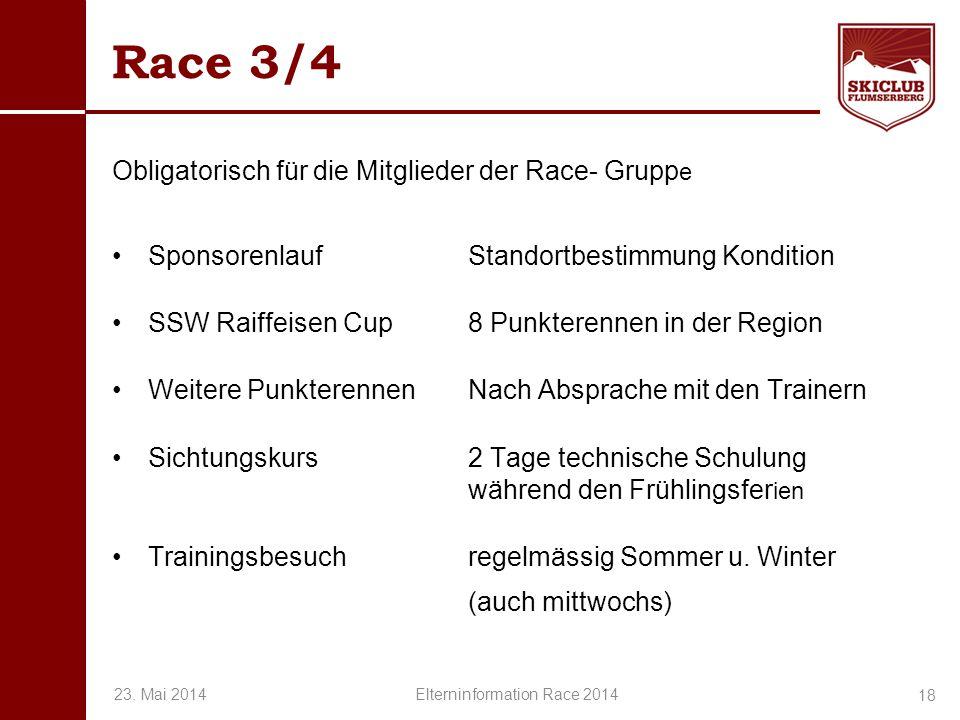 O+IO+I Race 3/4 Obligatorisch für die Mitglieder der Race- Grupp e Sponsorenlauf Standortbestimmung Kondition SSW Raiffeisen Cup 8 Punkterennen in der
