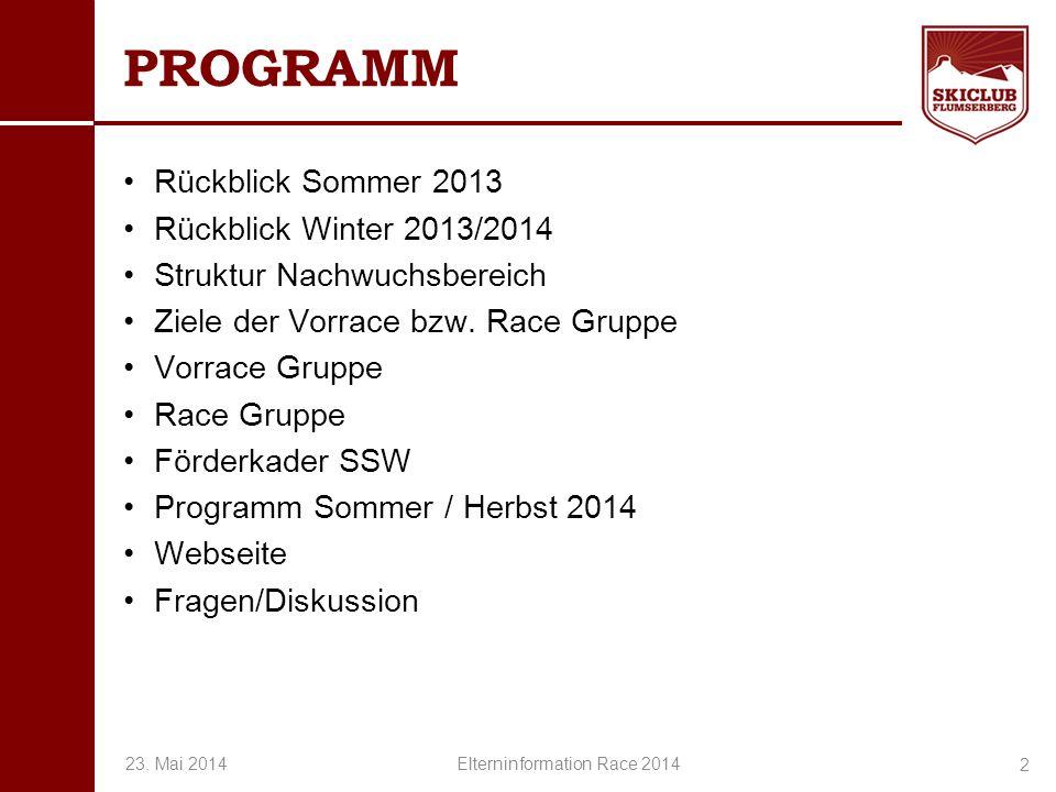 O+IO+I PROGRAMM Rückblick Sommer 2013 Rückblick Winter 2013/2014 Struktur Nachwuchsbereich Ziele der Vorrace bzw. Race Gruppe Vorrace Gruppe Race Grup