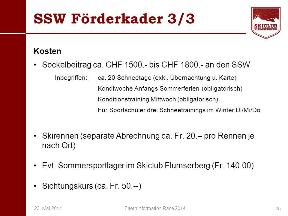 O+IO+I SSW Förderkader 3/3 Kosten Sockelbeitrag ca. CHF 1500.- bis CHF 1800.- an den SSW – Inbegriffen:ca. 20 Schneetage (exkl. Übernachtung u. Karte)