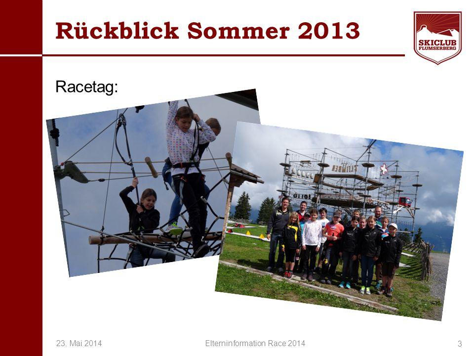 O+IO+I Rückblick Sommer 2013 Racetag: 3 23. Mai 2014 Elterninformation Race 2014