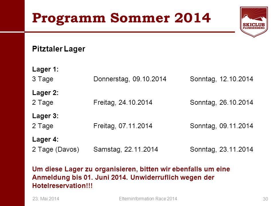 O+IO+I Programm Sommer 2014 Pitztaler Lager Lager 1: 3 TageDonnerstag, 09.10.2014 Sonntag, 12.10.2014 Lager 2: 2 TageFreitag, 24.10.2014 Sonntag, 26.1