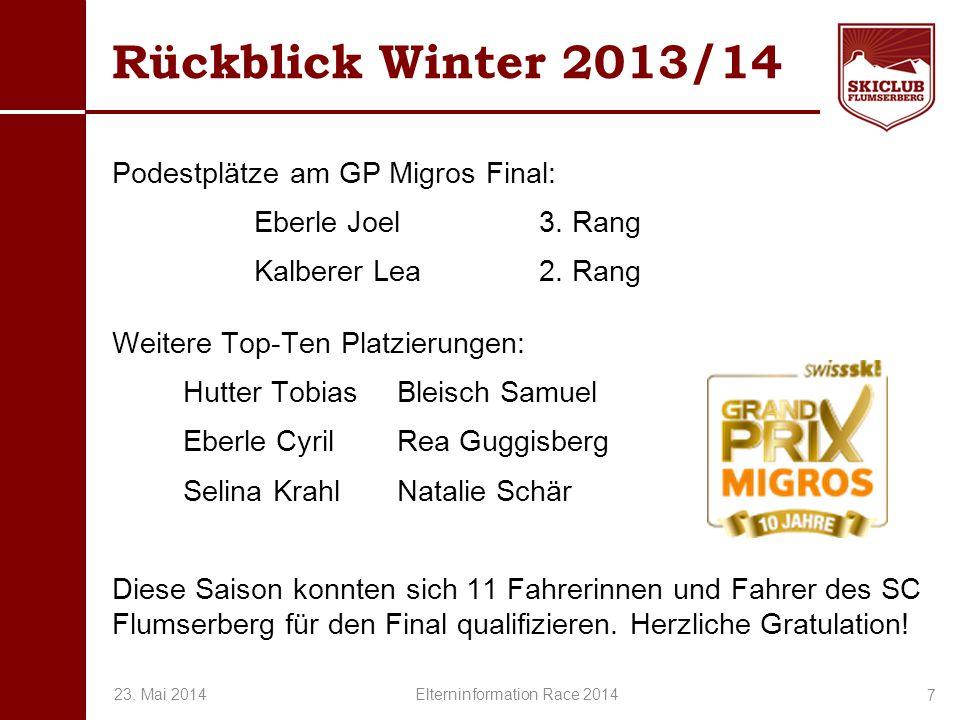 O+IO+I Rückblick Winter 2013/14 Podestplätze am GP Migros Final: Eberle Joel3. Rang Kalberer Lea2. Rang Weitere Top-Ten Platzierungen: Hutter TobiasBl