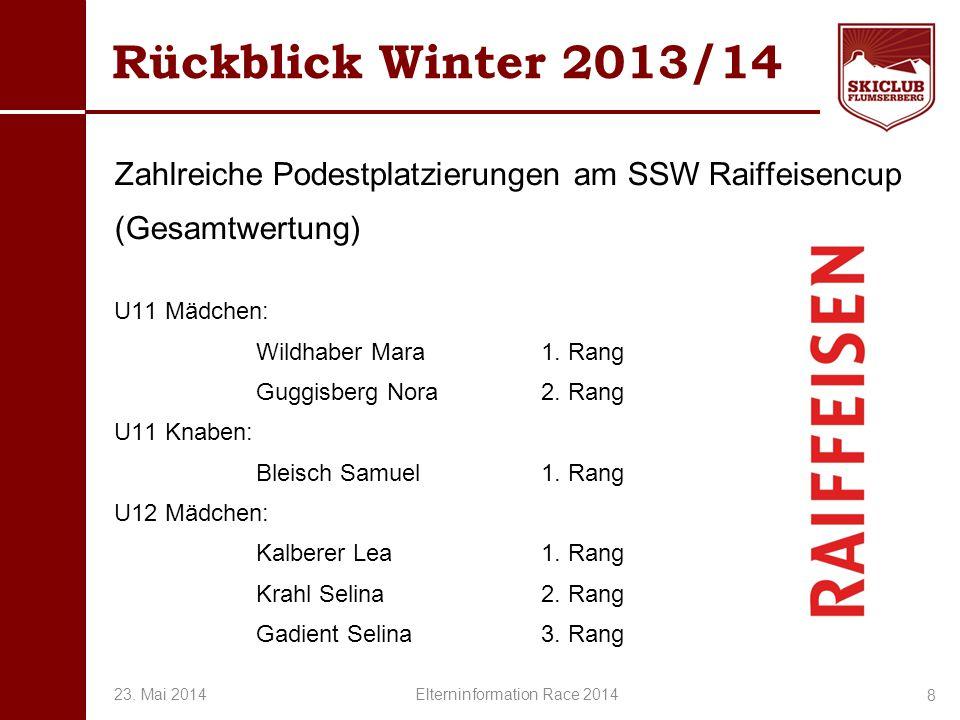 O+IO+I Rückblick Winter 2013/14 Zahlreiche Podestplatzierungen am SSW Raiffeisencup (Gesamtwertung) U11 Mädchen: Wildhaber Mara1. Rang Guggisberg Nora