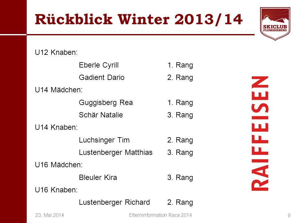 O+IO+I Rückblick Winter 2013/14 U12 Knaben: Eberle Cyrill1. Rang Gadient Dario2. Rang U14 Mädchen: Guggisberg Rea1. Rang Schär Natalie3. Rang U14 Knab