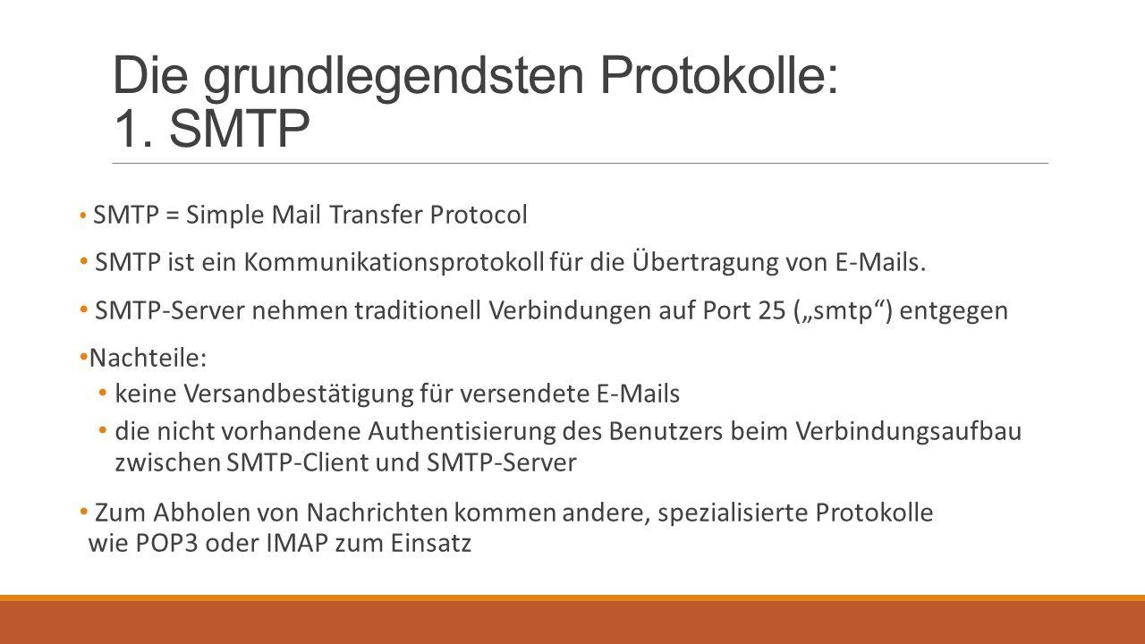 Die grundlegendsten Protokolle: 1. SMTP SMTP = Simple Mail Transfer Protocol SMTP ist ein Kommunikationsprotokoll für die Übertragung von E-Mails. SMT