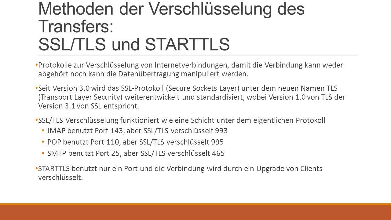 Methoden der Verschlüsselung des Transfers: SSL/TLS und STARTTLS Protokolle zur Verschlüsselung von Internetverbindungen, damit die Verbindung kann we