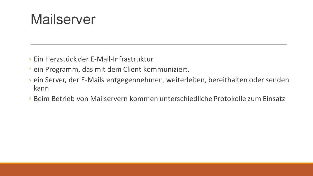 Wichtige Komponenten der E-Mail Kommunikation Sender-Client/ Empfänger-Client Als MUA (=Mail User Agent)  Software des Clients Sender-Mailserver/ Empfänger-Mailserver Als MTA (=Mail Transport Agent)  die Software eines Mailservers  wird auch SMTP-Server genannt MDA (= Mail Delivery Agent)  Software für die Zustellung von E-Mails an die betreffenden Benutzerkonten Mailbox